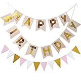 KUNGYO Happy Birthday Pink Banner Birthday Party Decorations With Triangular Bunting Flag Garland