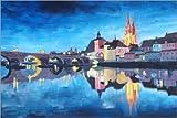 Poster 60 x 40 cm: Regensburg bei Dunkelheit von M.