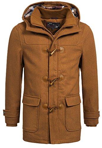 INDICODE Herren Ervin Mäntel Duffle-Coat Wintermantel lange Woll-Jacke mit Kapuze und Karo-Futter aus hochwertiger Wollmischung Knebel Camel XXL (Leder Und Karo-jacke)