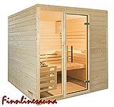 Finnline Massivholzsauna Family I 220 x 190 x 200 cm I 45 mm massiv I 4-Eck I Inkl. Saunaofen & Steuerung I Inkl. Lieferung I Saunakabine I Saunaanlage I Saunabau I Saunazubehör