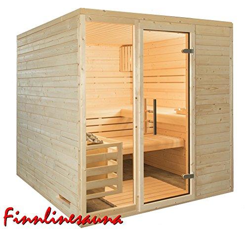 Finnline Massivholzsauna Family I 196 x 196 x 200 cm I 45 mm massiv I 4-Eck I Inkl. Saunaofen &...