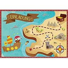 """Oblique-Unique® 6 Einladungskarten zum Kindergeburtstag """"Pirat"""" // Geburtstagseinladungen Jungen Mädchen Kinder Einladungen Schatzkarte Schatzsuche Piratenparty Geburtstag Karten Set"""