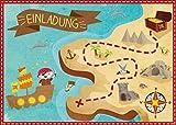 Oblique Unique® 6 Einladungskarten zum Kindergeburtstag Pirat // Geburtstagseinladungen Jungen Mädchen Kinder Einladungen Schatzkarte Schatzsuche Piratenparty Geburtstag Karten Set