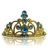 Katara - Diadème de princesse pour filles/ couronne dorée avec diamants en bleu clair/ accessoire de déguisement - tiare costume de reine pour filles/ 3-11 ans