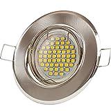 12x Lu-Mi® Einbaustrahler GU10 LED 3W SMD Warmweiß 230V, Einbaurahmen mit GU10 Fassung (Edelstahl gebürstet - SD201)