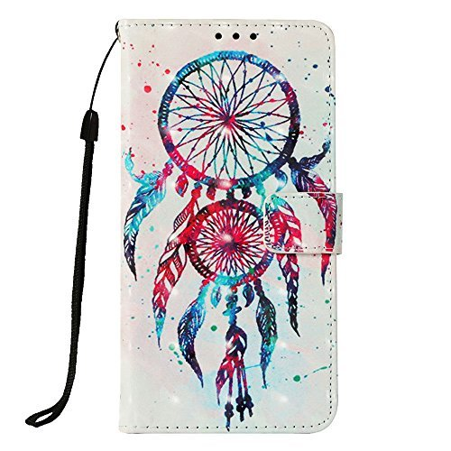 LG K30 Fall, LG K10 2018 Fall, jancalm [Handschlaufe] [Standfunktion] [3D Painted] [-Karte/Cash Slots] Muster PU Leder Wallet Magnetic Flip Folio Cover + Crystal Pen, Dream Catcher Pattern T-mobile Wireless-handy