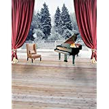 A.Monamour Distressed Wooden Floor Piano Red Drapes Pine Trees Winter Snow Picture Backgrounds