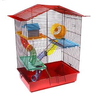 Nagerkäfig Hamsterkäfig Mäusekäfig inklusive Plastikinventar ch3 Rot