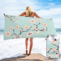 popluck Sakura Cherry Blossoms X Mint Green Microfiber Quick Dry Super Soft Ultra Light Travel Portable Towel for Travel Beach Camping Gym Swimming Sporting