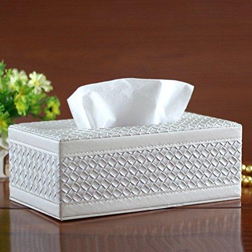 Braid Kunstleder PU Leder Haushalt Büro rechteckig Tissue Halter Box Cover Case Schutzhülle Serviette Halter weiß