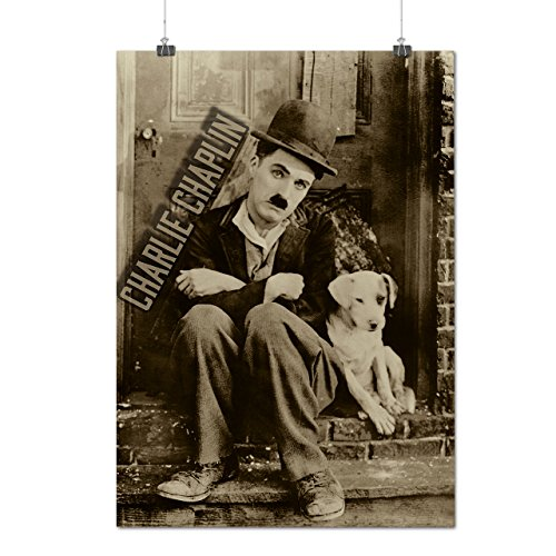 charlie-chaplin-chien-film-matte-glace-affiche-a3-42cm-x-30cm-wellcoda