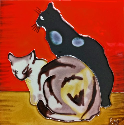 Continental Art Center bd-0107 8 20,3 cm zwei Katzen Keramik Art Tile