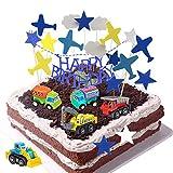 Daypicker Decorazione Torta Auto Ragazzo, Happy Birthday Cake Topper, Decorazioni per Torta con Nuvole d'aeroplano per Auto, Ideale per Bambini di Compleanno Baby Shower Party Adult Wedding