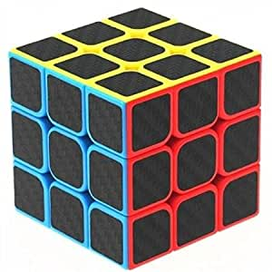Emob High Speed Carbon Fiber Sticker 3x3 Colors Magic Rubik Cube Puzzle Toy with Adjustable Speed (5.5cm) (Muticolor)
