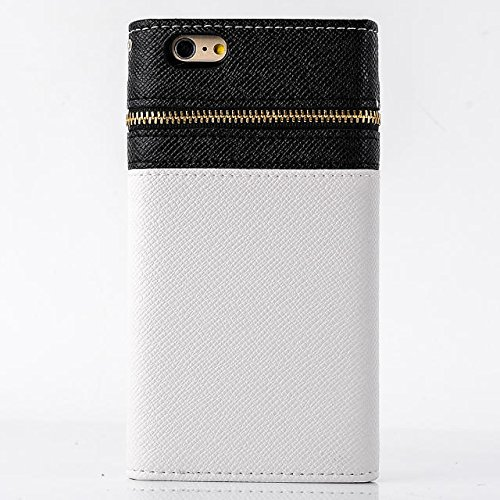 "inShang Hülle für Apple iPhone 6 Plus iPhone 6S Plus 5.5 inch iPhone 6+ iPhone 6S+ iPhone6 5.5"", Cover Mit Reißverschluss + Errichten-in der Tasche + Flower Decoration, Edles PU Leder Tasche Skins Etu zipper flower white and black"