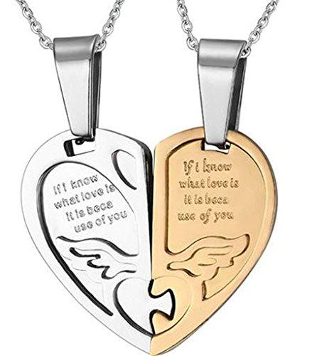 Daesar Joyería Collar Colgante Acero Mujer Hombre, Corazón del Rompecabezas Mariposa Circonita Colgante para Parejas, Plata Oro