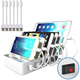 jzbrain station de charge 6 ports usb avec interrupteur, station de recharge chargeur usb multiple