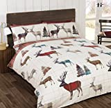 SoSoft Set di biancheria da letto composto da copripiumino singolo e federe in flanella, motivo: cervo, in cotone felpato, colore: rosso