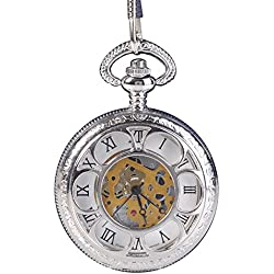 Magic Roman Half Hunter Sliver Steel Hollow Skeleton Quartz Pocket Watch Long Chain