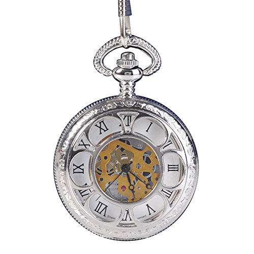 Antique-Hunter-Quartz-Roman-Numerals-Pocket-Watch-for-Men-with-Chain-Silver