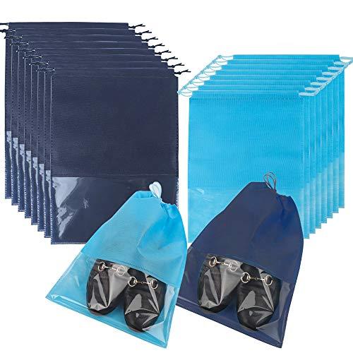 16er Schuhtaschen Wasserfeste Schuhbeutel, Staubdicht Schuhsack mit Zugband/Transparente Fenster, für für Reisen oder Zuhause-Aufbewahrung, 2 Größe