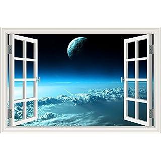 Asenart 3d-sticker Sonne Baum Landschaft Tapete Vinyl Aufkleber Home Dekoration, Blue Cosmos, 28