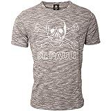 FC St. Pauli Herren T-Shirt Oberteil Bekleidung Fanartikel Salt Pepper Grau Meliert Totenkopf (XL)