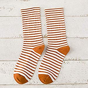 Edisonpenn Nützliche Damen Die Stripy Stripey Striped Socken Vielfalt der Farben Fancy Dress Sock Soft(None Orange.)