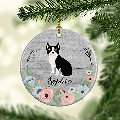 DKISEE Personalized Dog Ornament Boston Terrier Christmas Ornament Custom Pet Holiday Ceramic Ornaments Family Dog 3 inch -