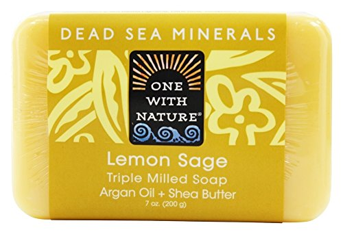 One With Nature - Dead Sea Mineral Bar suave de jabón exfoliante de limón salvia - 7 oz.