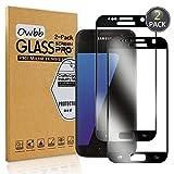 Owbb [2 Pièces] Protecteur D'écran en Verre Trempé pour Samsung Galaxy S7 (5,1 Pouces) Noir Couverture Complète Protection 99% Haute Transparent Anti-déflagrant (Pas pour Samsung Galaxy S7 Edge)