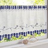 HongYa Bestickte Scheibengardine Halbtransparente Küche Kleinfenster Gardine mit Karo-Muster H/B 30/120cm Blau