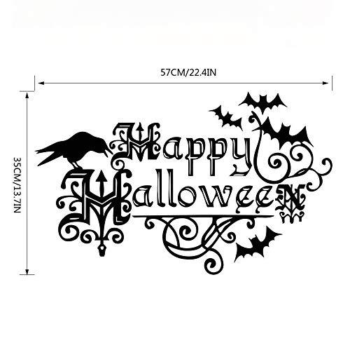 Shisky Wandaufkleber,Halloween Krähe Wand Aufkleber Schlafzimmer Wohnzimmer Hostel PVC herausnehmbare Dekorpapier 57 * ()
