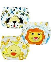 GVESS 3 X pantalones infantiles del niño niño encantador de algodón natural pantalones reutilizables