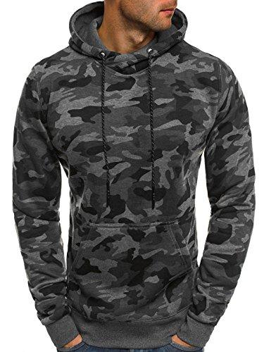 OZONEE Herren Kapuzenpullover Sweatshirt Langarmshirt Sweatjacke Motiv Pullover Prints Camouflage Pulli J.Style DD129-10 L DUNKELGRAU
