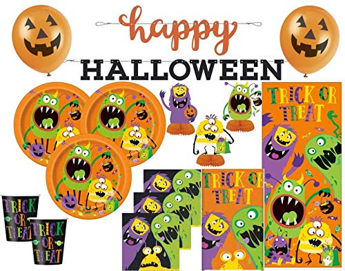 Kids Party World XXL 44 Teile Halloween Deko Set Kleine Monster für 8 Kinder