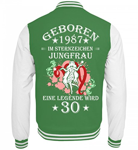 Hochwertige College Sweatjacke - Sternzeichen Jungfrau wird 30 Grün-Weiss