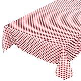 ANRO Wachstuchtischdecke Wachstuch Wachstischdecke Tischdecke Wachstuchdecke Karo Kariert Rot Rund 140cm