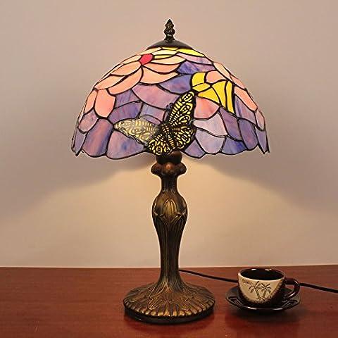 Lampe Tiffany - 12 Pouces Vintage Butterfly Pastoral Avec Fleurs