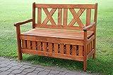 Gartenbank 2-Sitzer mit Ablage 115x52x88cm Kiefer braun Sitzbank Holzbank Bank