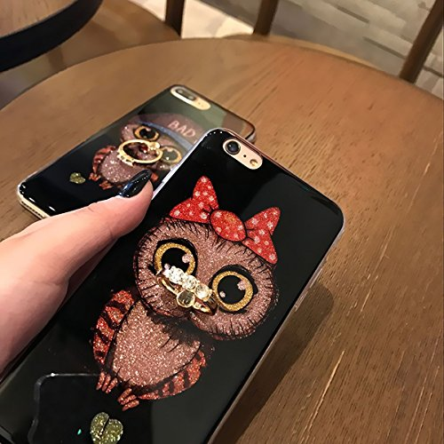 Custodia iPhone 7, iPhone 8 Cover Silicone Bling, SainCat Cover per iPhone 7/8 Custodia Silicone Morbido 3D, Bling Glitter Shock-Absorption Ultra Slim Transparent Silicone Case Ultra Sottile Morbida G Fiocco Rosso #2