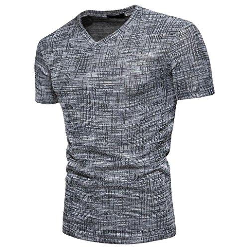 Kanpola T-Shirt Shirt Herren Slim Fit Sommer Kurzarm Fitness Retro Sweatshirt Unterhemden Muskelshirt Einfarbige Tee Top