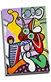 Pablo Picasso Schöne Stillleben auf Podest Leinwandbild Druck Art Wand Bild Kunstdruck auf Leinwand groß A176,2x 50,8cm (76.2cm x 50.8cm)