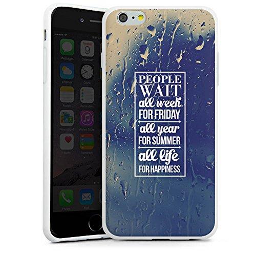Apple iPhone X Silikon Hülle Case Schutzhülle Glück Sprüche spruch Silikon Case weiß