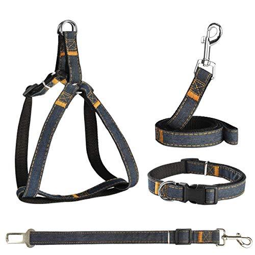 Arnés para perros POWEROWL Arnés de seguridad 4 en 1 Fácil de encender/apagar Arnés para chaleco con correa ajustable para exteriores sin tirar con correa, cinturón de seguridad y collar para cachorro