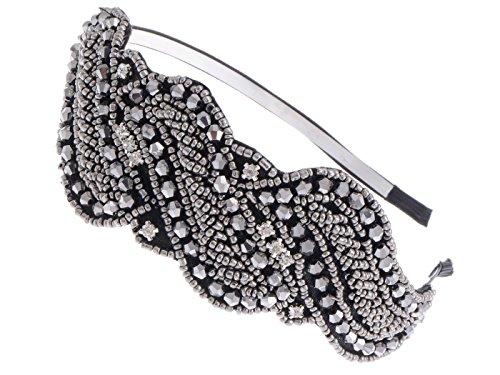 Alilang Frauen Metallic Geschützmetall Grau Pailletten Perlen