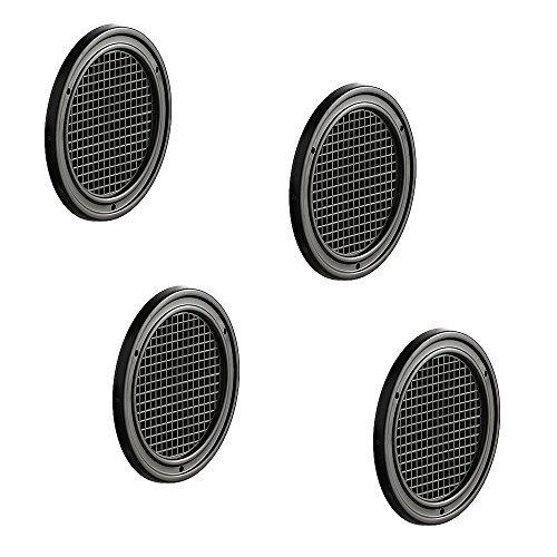 Preisvergleich Produktbild 4 Stück - Möbel-Gitter Lüftungsgitter rund Abluftgitter braun für Möbel & Wohnmobil / Belüftungsgitter Ø 60 mm / Türgitter aus Kunststoff