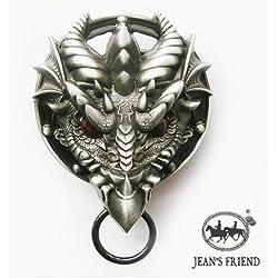 Cinturon de hebilla western vintage buckle fun hombre fiesta dorado demonio dragón rojo ojos