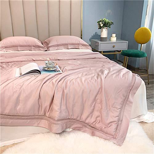 Nuoyi 100% natürliche Seide Tröster/Bettdecke/Steppdecke, kühl für den Sommer, 78,7 * 90,55 Zoll, 1 atmungsaktives Leichtgewicht Hoch belüftet Kann mit Wasser gewaschen Werden,Pink -