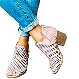 Sommer Ankle Boots für Damen/Dorical 5cm Blockabsatz Pumps Fisch Mesh Mund Hohl Reißverschluss Schuhe Atmungsaktiv Elegante Casual Arbeit Kurze Stiefel Abendschuhe Hochzeit Ausverkauf(Rosa,36 EU)